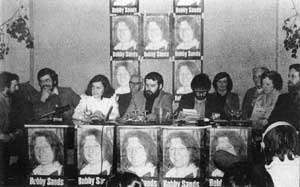 The start of the Fermanagh/South Tyrone by-election, Owen Carron, Gerry Adams, Bernadette McAliskey, Art McCaughey, Francie Molloy, Jim Gibney, Marcella Sands (Bobby's sister), Maura McKearney, Rosaleen Sands (Bobby's mother) and Pat McCaffrey
