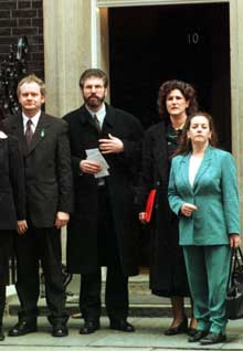 Siobhán O'Hanlon (right) on the first Sinn Féin delegation to meet the British Prime Minister in Downing Street also pictured,  Martin McGuinness, Gerry Adams and Lucilita Bhreathnach, 11 December 1997