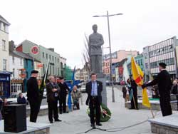 Micheál MacDonncha speaking in the redesigned and refurbished Eyre Square - An Fhaiche Mhór, Galway city