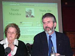 Gerry Adams with Eileen Fox (sister of Seamus Ludlow)