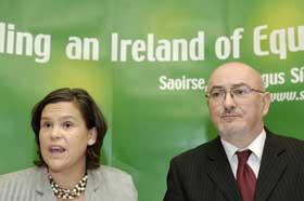 Sinn Féin's Dublin MEP Mary Lou McDonald and Caoimhghín Ó Caoláin TD