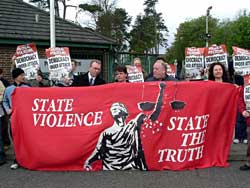 Sinn Féin picket outside PSNI headquarters at Knock, Wednesday 3 May