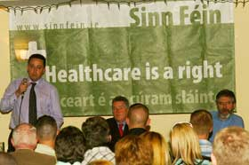 Felix Gallagher addresses a packed out hall in Dublin West
