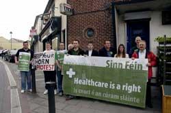 Sinn Féin in Dublin Mid West protest outside Minister for Health Mary Harney's office