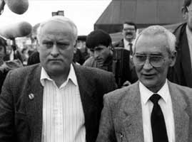 • Richard McIlKenny (wearing glasses) and his brother Paddy in 1991