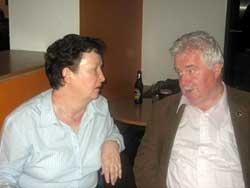 Ita Ní Chionnaith chatting to Sinn Féin's Larry O'Toole