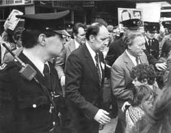 Charles Haughey is forced to run away from Hunger Strike protesters, Ballymun, Dublin 1981