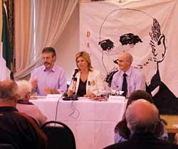 Gerry Adams, Sinn Féin Erris representative Rose Conway-Walsh and Sinn Féin Mayo general election candidate, Councillor Gerry Murray at the Davitt lecture