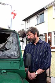Councillor Billy Leonard at the scene of the loyalist attack in Articlave