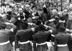 IRA Volunteers salute their comrade, Martin Hurson