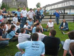 Youth camp participants listen to former Hunger Striker, Laurence McKeown
