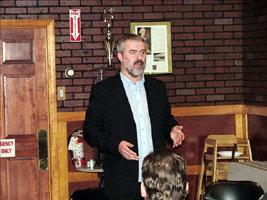 Seán Oliver speaking in Providence, Rhode Island