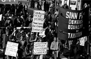 Sinn Féin protesting against the high tax rates for PAYE workers, and the lax approach to tax dodgers, during a tax march in Dublin in 1983