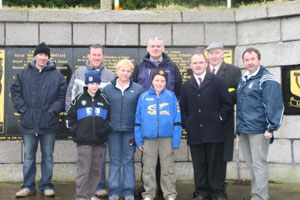 At the republican monument in Cullyhanna - Sinn Féin MP Conor Murphy, Barry McElduff MLA, Peter John Caraher, Councillor Colman Burns, Councillor Pat McGinn and others who attended the Michael McVerry Commemoration