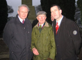 Sinn Féin Chief Negotiator Martin McGuinness MP, Seamus Sabhat, brother of Seán Sabhat and Sinn Féin Limerick East general election candidate Maurice Quinlivan at the commemoration