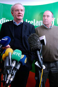 Martin McGuinness and Mitchel McLaughlin speaking to the press following a meeting of the Sinn Féin Officer Board last Tuesday