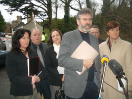 The Sinn Féin delegation led by Party Gerry Adams that met British Health Minister Paul Goggins last Monday