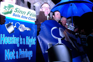 Protest organised by Sinn Féin outside City Hall last Monday evening