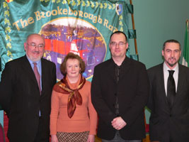 Sinn Féin Dáil Leader Caoimhghín Ó Caoláin, Cllr. Pádraigín Uí Mhurchadha (sister of Feargal Ó hAnnluain), Dr. Ruan O'Donnell and Barry Deeney (Cathaoirleach of O'Hanlon/ McMahon/ Lynagh Sinn