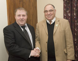 Ballybay Mayor, Gene Duffy, welcomes South African Minister Ronnie Kasrils to County Monaghan