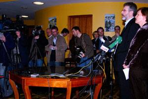 Facing the press after last Saturday's Sinn Féin Ard Chomhairle meeting