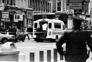 The scene in Belfast city centre on Wednesday 14 March 1984 after the shooting