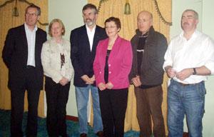 Gerry Kelly, Pauline Davey Kennedy, daughter of assasinated Sinn Féin Councillor John Davey, Bairbre de Brún, Seán McGlinchey and Peter Bateson who was a close comrade of legendary IRA Volunteer Francis Hughes, at the SF meeting on po