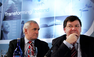 Bertie Ahern and Brian Cowen at the Irish Government launch of a new 'National Development Plan'