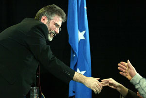 Gerry Adams shakes the hands of well wishers at the Ard Fheis