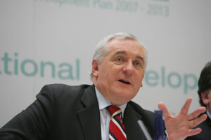 Bertie Ahern at a press conference after the launch of the National Development Plan