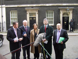 Conor Murphy, Martin McGuinness, Mary Lou McDonald, Gerry Adams and Padraig MacLochlainn at Downing Street