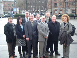 Sinn Féin candidates outside the Belfast Electoral Office, Monday 12 February where they were going to lodge their nomination papers for March 7 assembly elections
