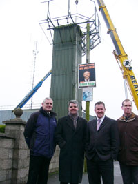 In Crossmaglen to witness the breaking up of the British Army spy post: Councillor Colman Burns, Councillor Cathal Boylan, Conor Murphy MP and Councillor Terry Hearty
