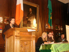 Mary Lou McDonald addressing Dublin Sinn Féin's Annual General Meeting in the Mansion House last Saturday