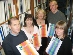 Dominic Adams, Rosie McCorley, Rosena Brown, Laurence McKeown and Yvonne Murphy, Librarian of the Political Collection at the Linen Hall Library.