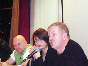 Paul McIlwaine, Andree Murphy of RFJ and Raymond McCord at collusion debate
