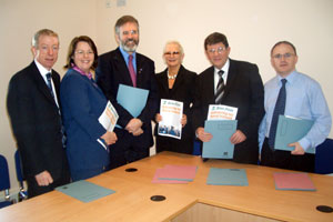 Michelle Gildernew, Gerry McHugh, Gerry Adams, Clair McGill, Pat Doherty and Barry McElduff at the launch in Omagh