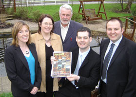 • Údarás na Gaeltachta member Gráinne Mhic Geidigh, Michelle Gildernew MP, Martin Ferris TD, Cllr Pearse Doherty and Cllr Pádraig Mac Lochlainn at the launch of Equality for Rural Communities in Donegal town