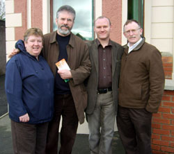 Sue Ramsey, Gerry Adams, Paul Maskey and Dessie Ellis at the re-opening of Connolly House