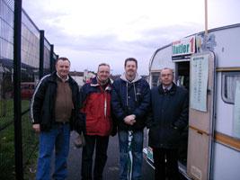 Polling day - Former Lagan valley Sinn Féin Councillor Damien Gibney, Jim Gibney, Flash McVeigh and Paul Butler