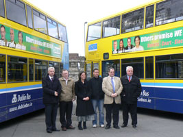 Sinn Féin's Week of Action on Transport was launched on Tuesday when the party presented bus side election posters at the Dublin Bus Phibsboro Garage