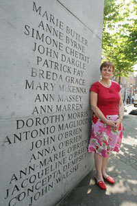 Margaret Urwin at the Memorial of the 1974 bombings in Dublin
