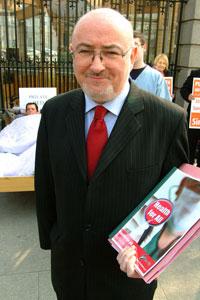 Caomhghín Ó Caoláin TD at a Sinn Féin healthcare protest outside Leinster House on Tuesday