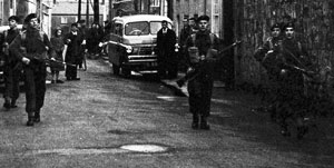 A British Army patrol in Enniskillen during the Border Campaign