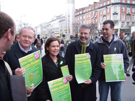 Martin McGuinness, Mary Lou McDonald, Gerry Adams and Pearse Doherty at the Pledge-Card on Healthcare launch, GPO in Dublin last Friday