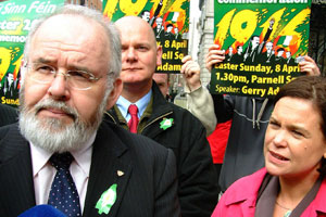 Head of Sinn Féin's National Commemoration Committee Francie Molloy and Mary Lou McDonald outside Leinster House announcing details for more than 100 Easter commemorations