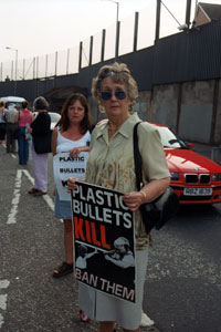 Emma with Brenda Downes on Plastic Bullet Vigil