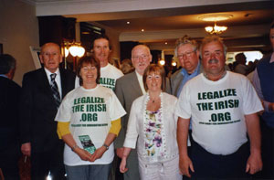 Cllrs Mick Murphy (Co Down), Seán McManus (Sligo), Bernice Swift & Stephen Huggett (Fermanagh) and Michael McMahon (Donegal) with campaigners at the ILIR rally in Dublin