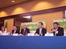 Gráinne Mhic Géidigh, Pádraig Mac Lochlainn, Martin McGuinness, Pearse Doherty and Pat Doherty