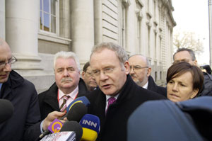 Martin McGuinness speaking to the Press